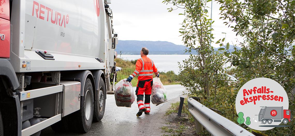 Sjåfør henter avfallssekker